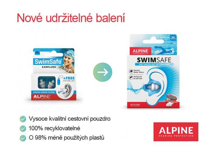 Alpine SwimSafe Špunty do uší na plavání balení Earplugs cz