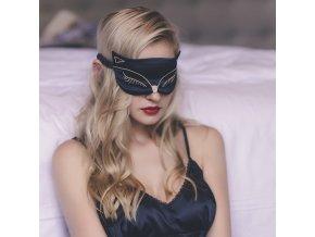 Černá maska na oči spaní kočka Earplugs CZ