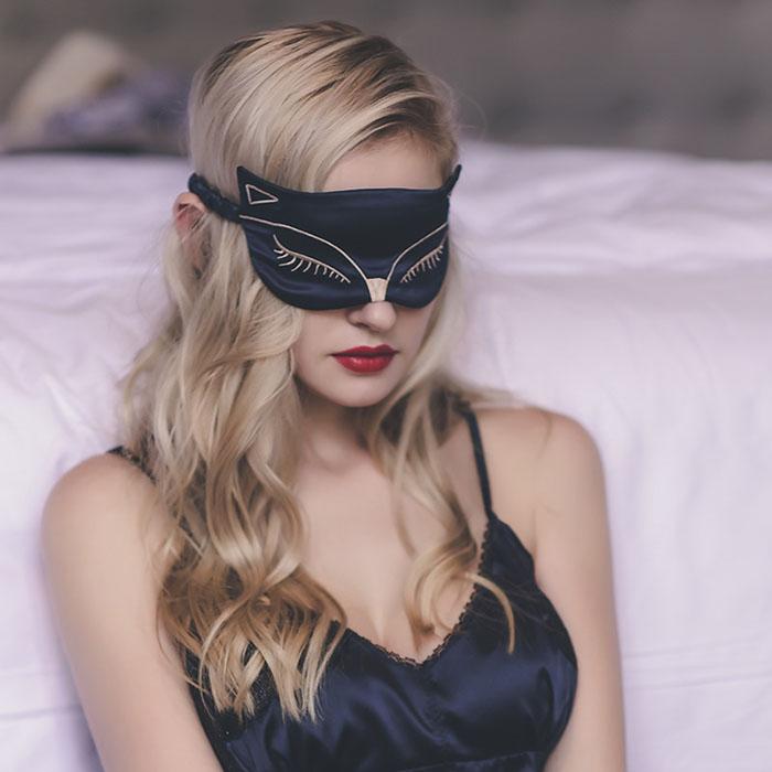 Černá Kočičí Maska na oči na spaní