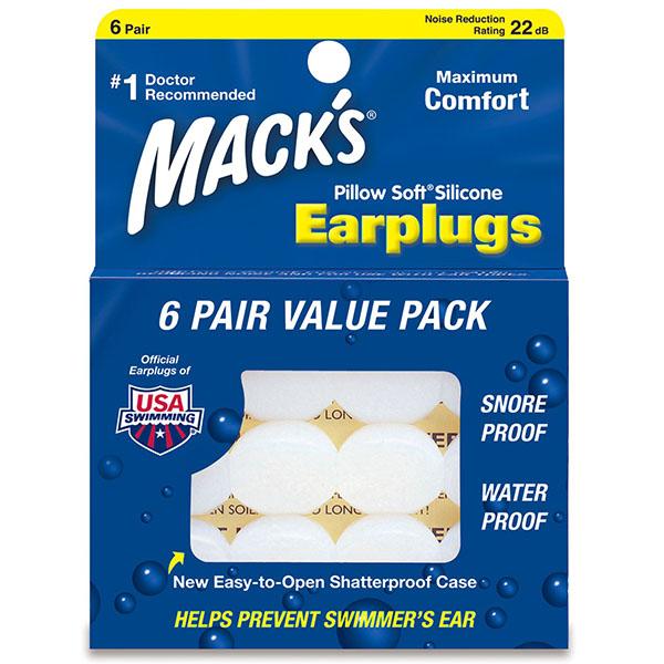 Mack's Pillow Soft White 6 párů Silikonové špunty do uší