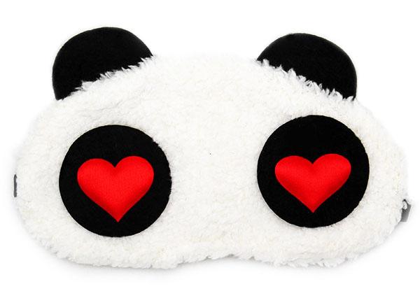 Panda Červené Srdce Maska na oči na spaní