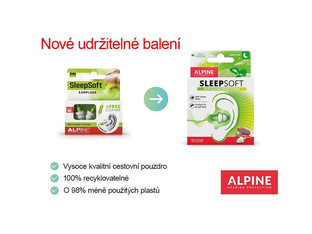 Špunty do uší na spaní Alpine SleepSoft spolu s minigrip