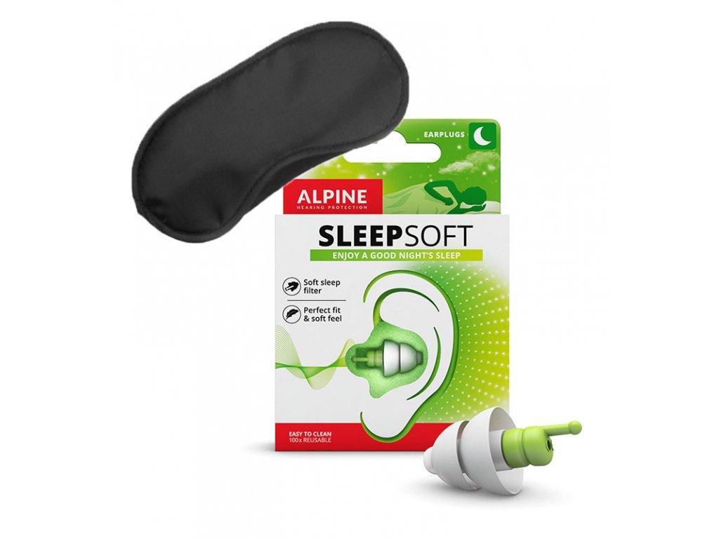 Špunty do uší Alpine SleepSoft Minigrip a maska na oči na spaní