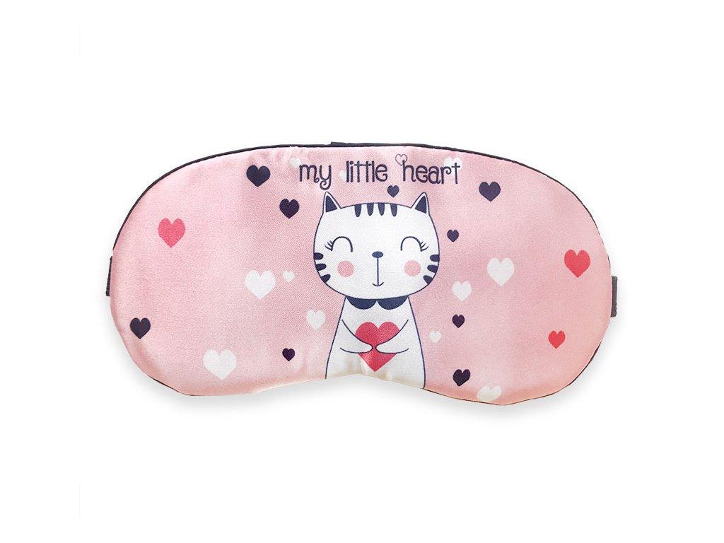 Maska na oči na spaní Kočka se srdcem