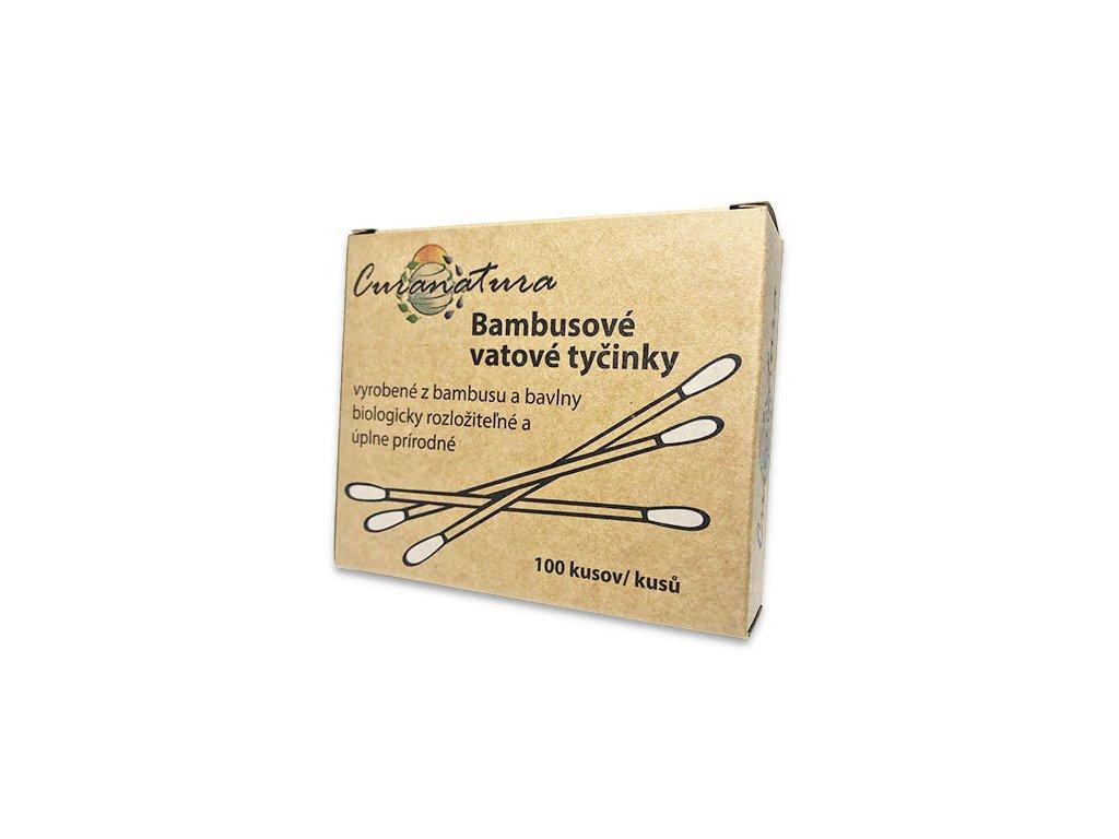 Bambusové tyčinky do uší Curanatura 100 kusů