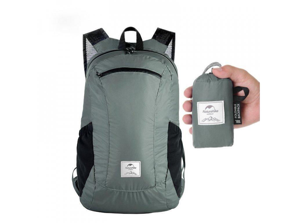 Naturehike skládací cestovní batoh 18l světle šedý