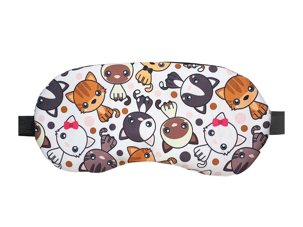 Maska na oči na spaní kočky s mašlí