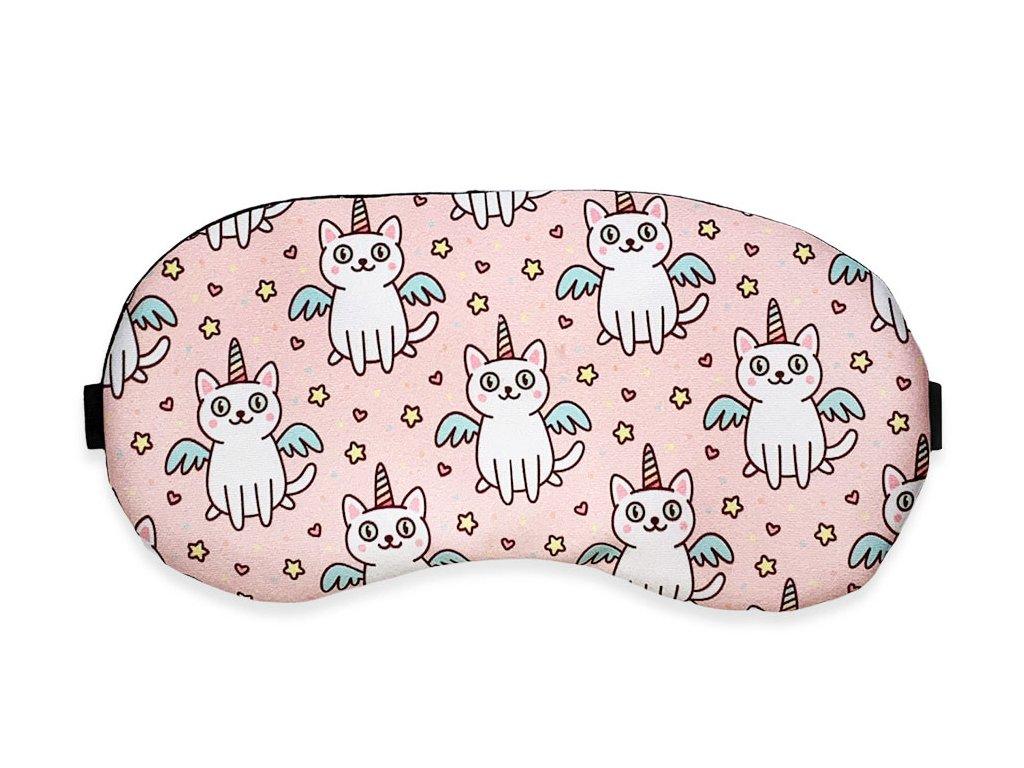 Maska na oči na spaní kočky s rohem