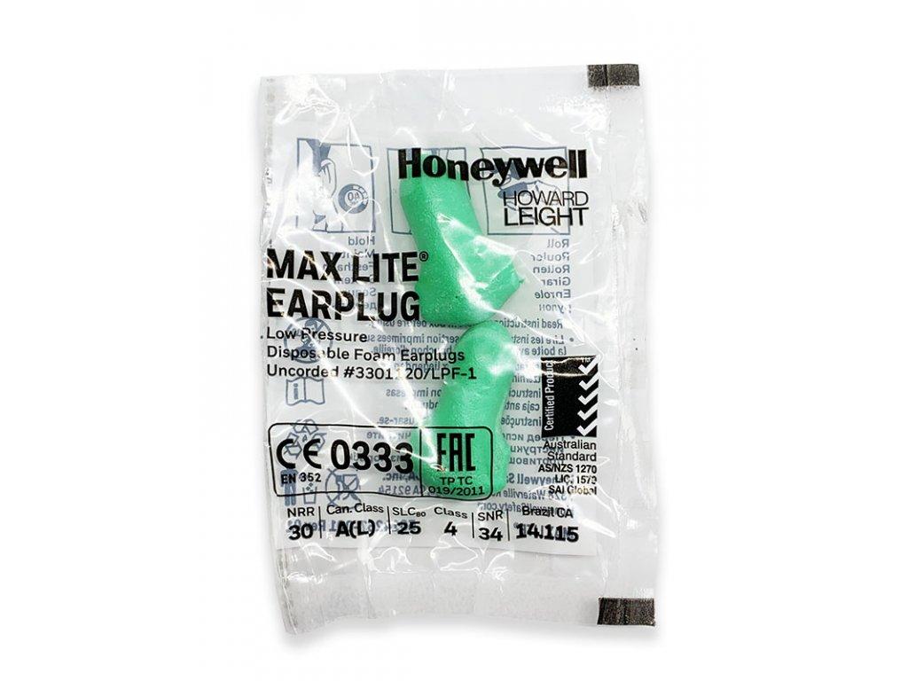 Howard Leight Max Lite zelené špunty do uší 1 pár hygienické balení