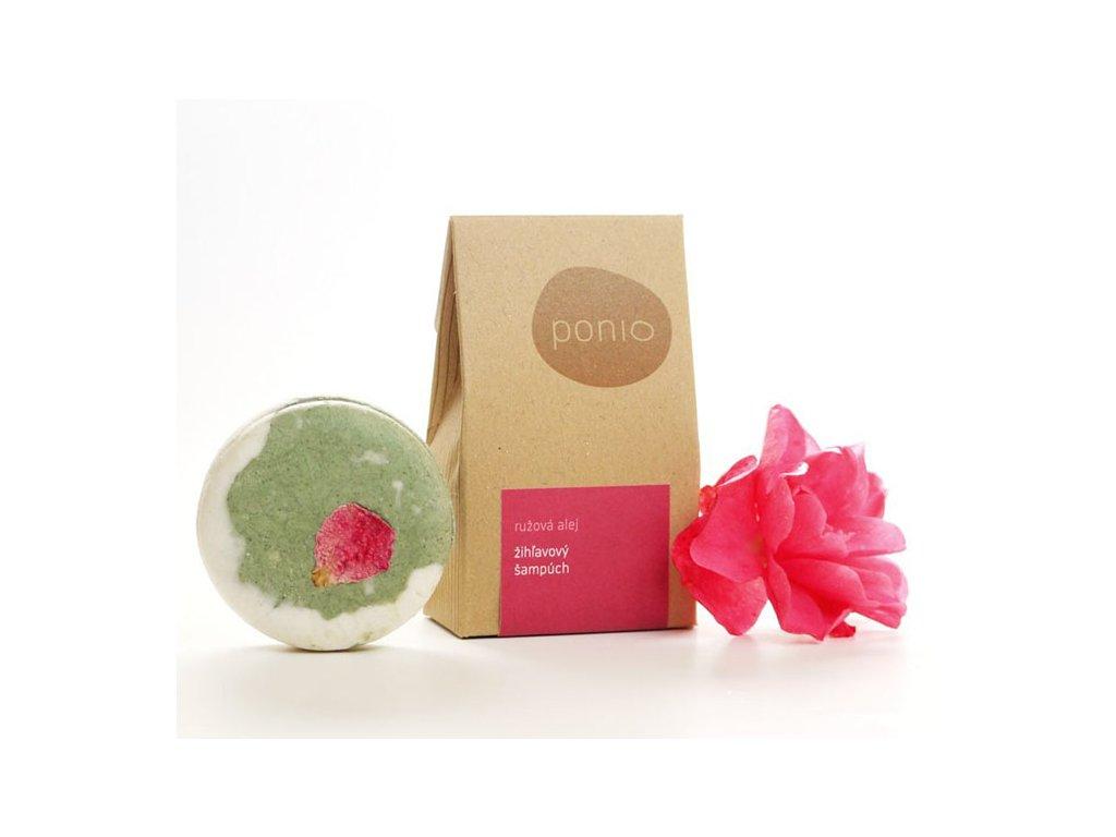 Ponio kopřirový tuhý šampon růžová alej produktovka