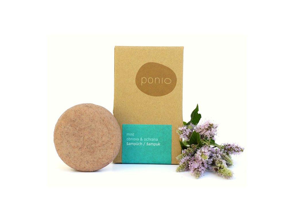Ponio mátový tuhý šampon obnova a ochrana Mint balení