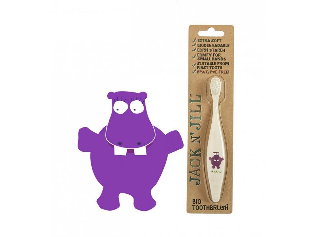 Jack n' Jill zubní kartáček z kukuřičného škrobu pro děti Hrošík