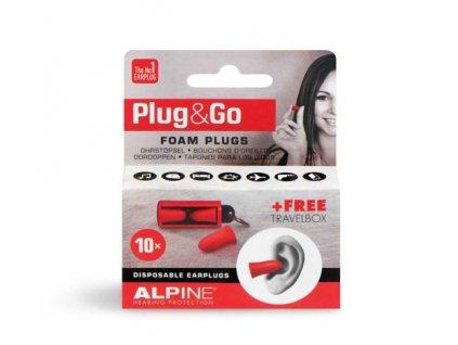 Alpine Plug and Go Pěnové špunty do uší červené barvy