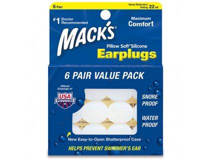 Macks PillowSoft 6 párů Silikoné špunty do uší Earplugs cz
