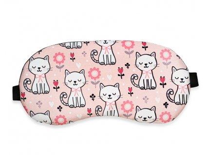 Maska na oči na spaní kočky v poli růžová