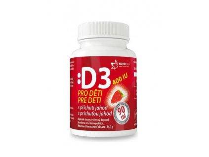 Nutricius vitamín D3 pro děti s příchutí jahody 400 IU