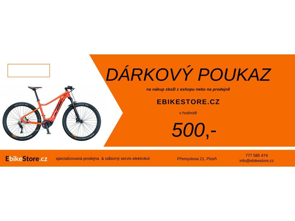 Dárkový poukaz na elektrokolo a příslušenství na 500 Kč