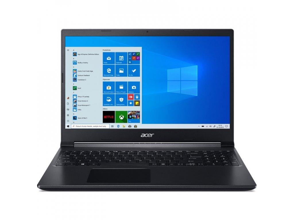 """Ntb Acer Aspire 7 (A715-75G-51J9) i5-9300H, 15.6"""", Full HD, RAM 8GB, SSD 512GB, bez mechaniky, nVidia GeForce 1650, 4GB, FPR, W10 Home - černý"""