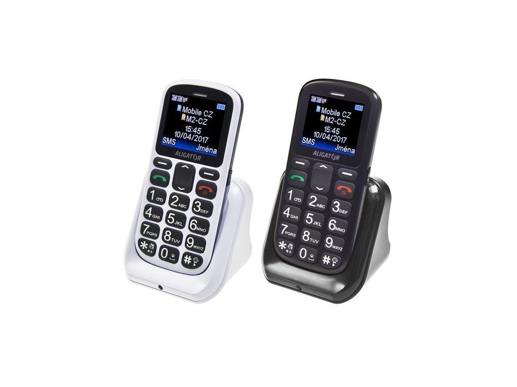 Mobilní telefon Aligator A321 Senior Dual SIM - bílý