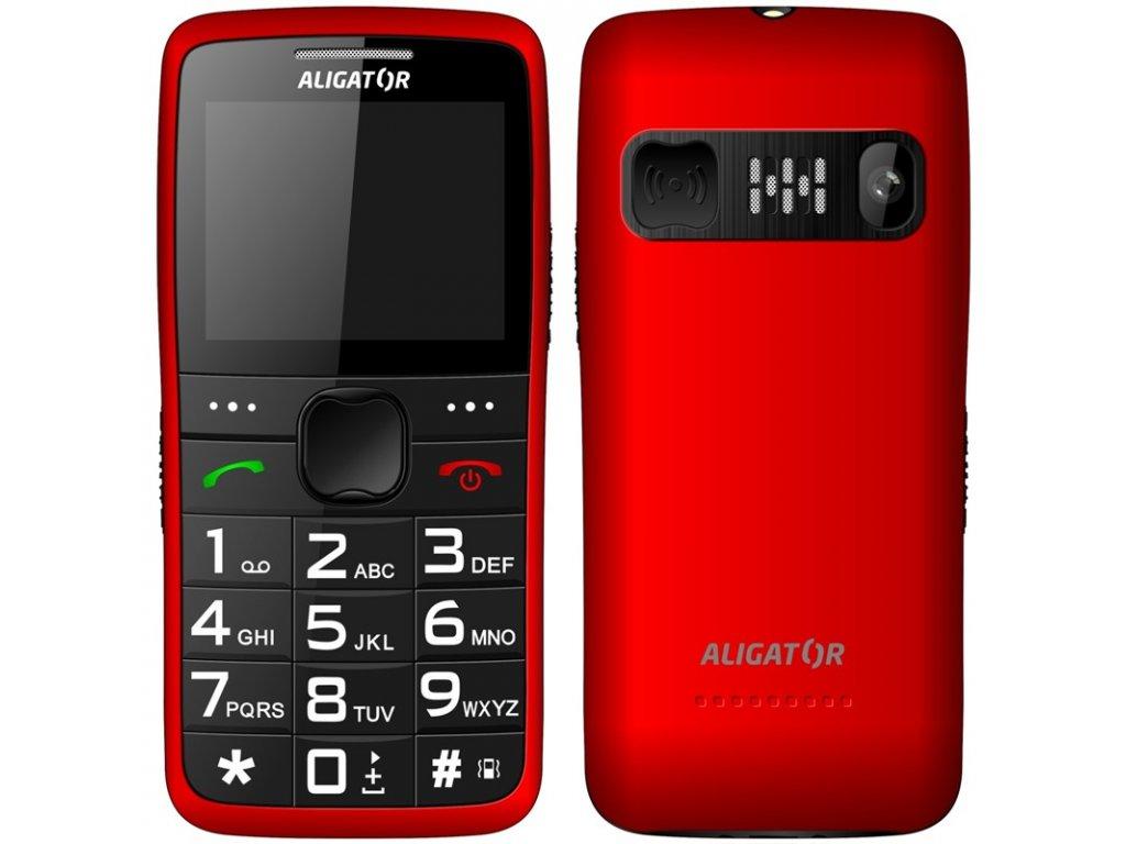 Mobilní telefon Aligator A675 Senior - červený