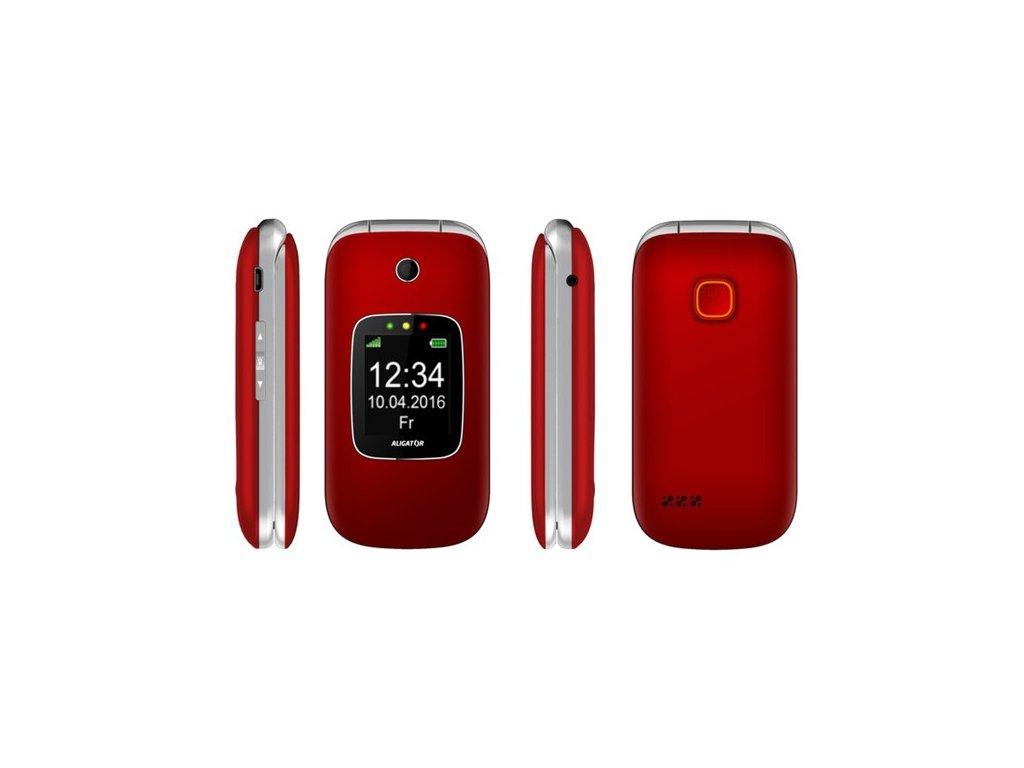 Mobilní telefon Aligator V650 Senior - stříbrný/červený