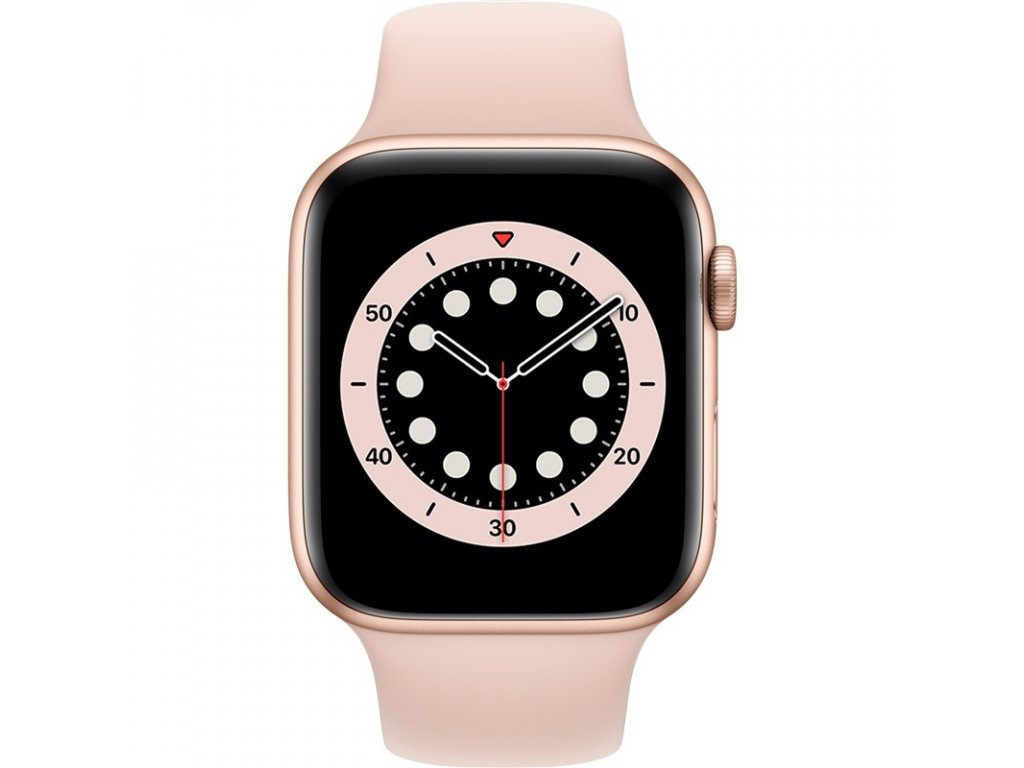 Chytré hodinky Apple Watch Series 6 GPS 40mm pouzdro ze zlatého hliníku - pískově růžový sportovní náramek