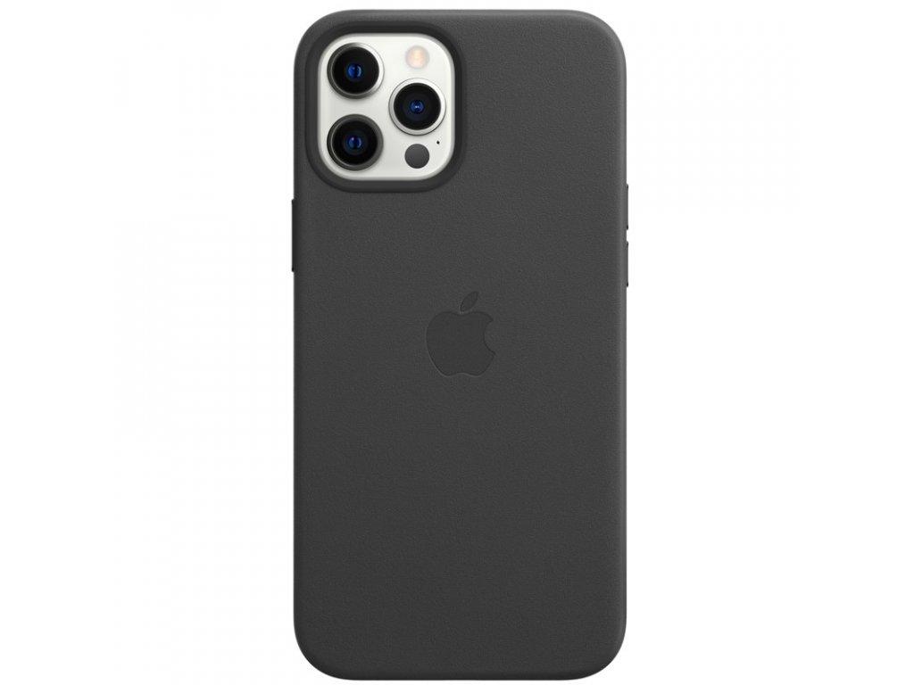 Kryt na mobil Apple Leather Case s MagSafe pro iPhone 12 Pro Max - černý