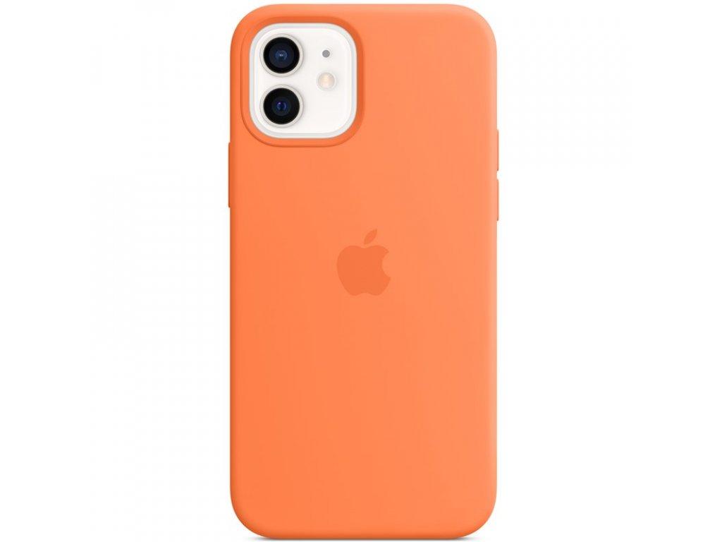 Kryt na mobil Apple Silicone Case s MagSafe pro iPhone 12 a 12 Pro - kumkvatově oranžový