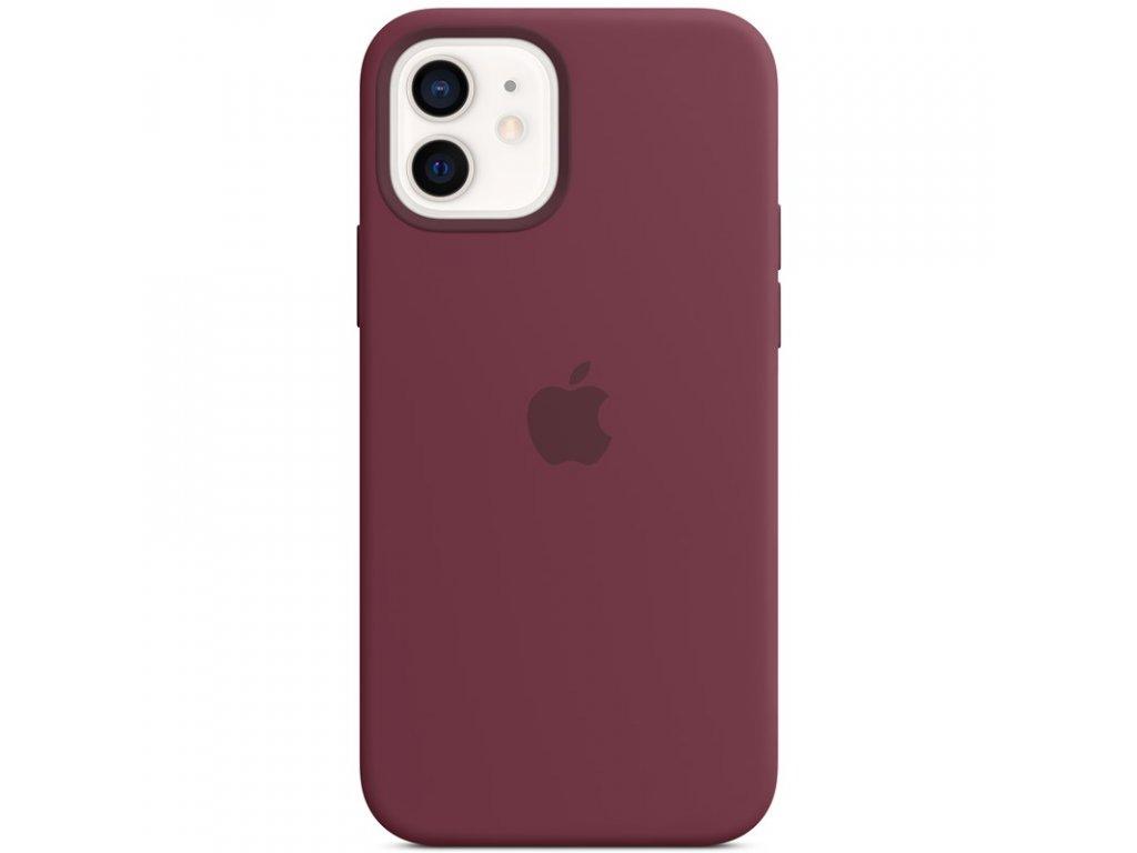 Kryt na mobil Apple Silicone Case s MagSafe pro iPhone 12 a 12 Pro - švestkový