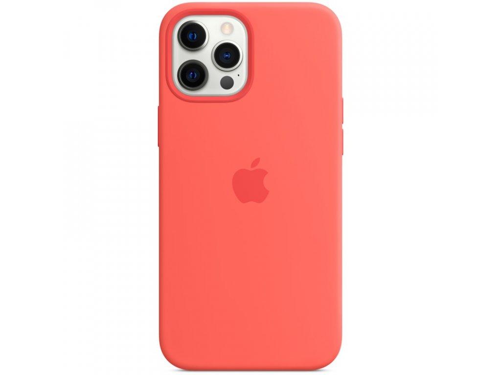 Kryt na mobil Apple Silicone Case s MagSafe pro iPhone 12 Pro Max - citrusově růžový