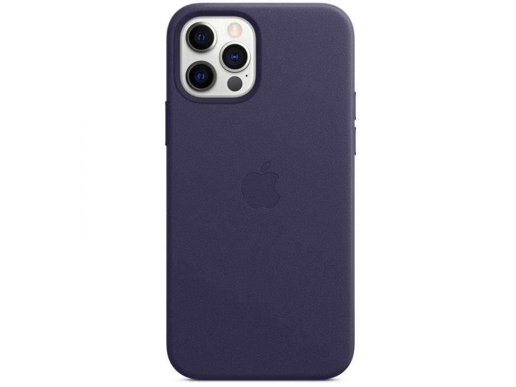 Kryt na mobil Apple Leather Case s MagSafe pro iPhone 12 a 12 Pro - temně fialový