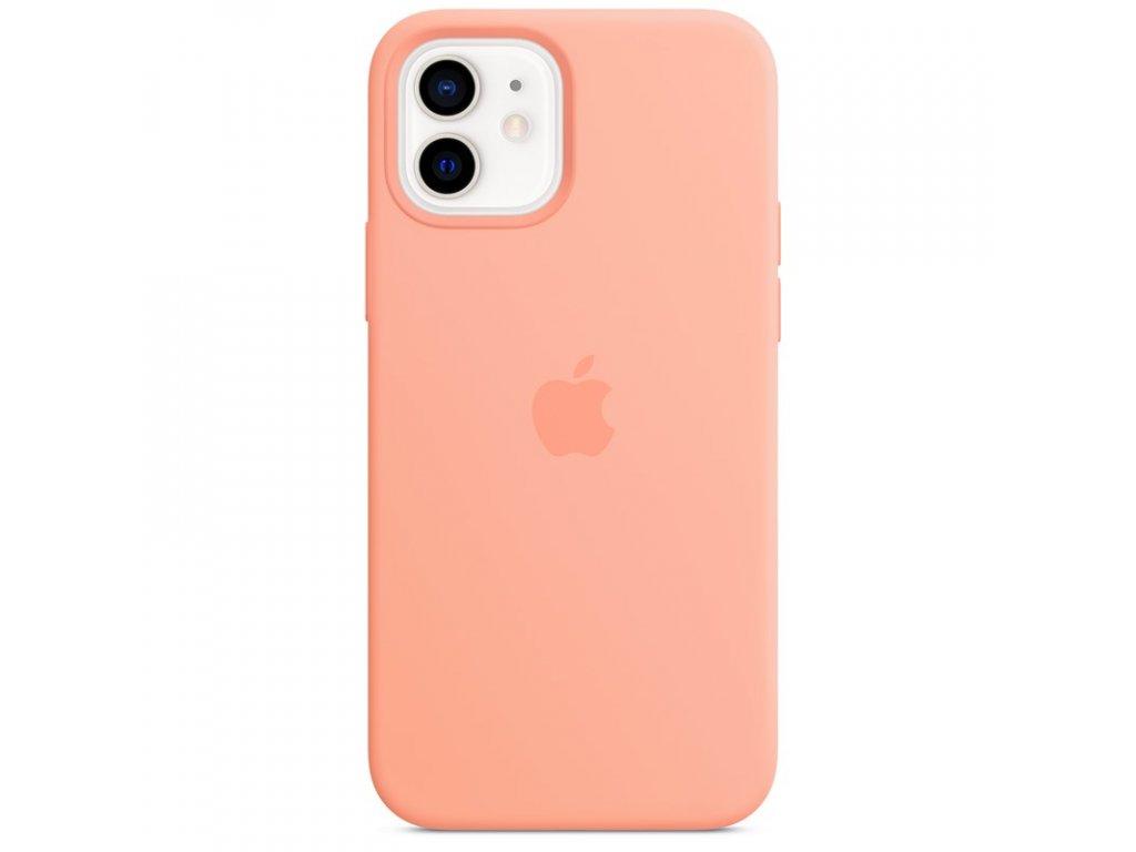 Kryt na mobil Apple Silicone Case s MagSafe pro iPhone 12 a 12 Pro - melounově oranžový