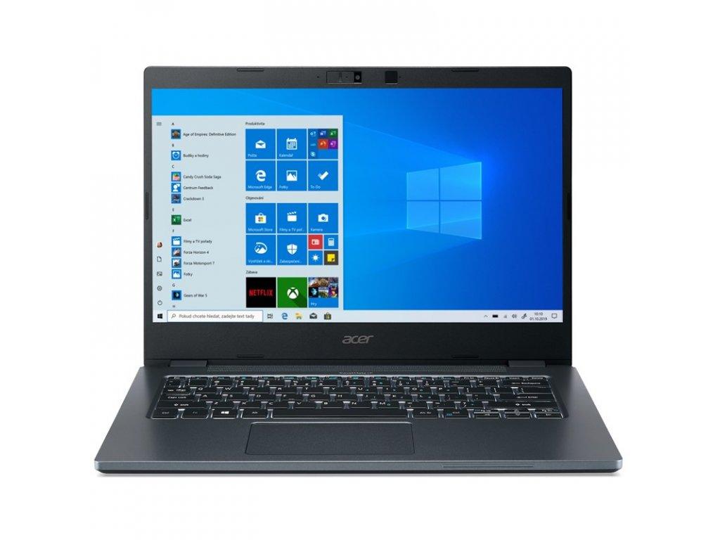 """Ntb Acer TravelMate P4 (TMP414-51-76ME) i7-1165G7, 16GB, 512GB, 14"""", Full HD, bez mechaniky, Intel Iris Xe, BT, FPR, CAM, Win10 Pro - šedý/modrý"""