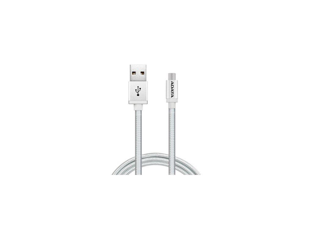 Kabel ADATA USB/micro USB, 1m, pletený - stříbrný