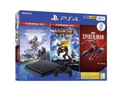 Herní konzole Sony PlayStation 4 500 GB + Spiderman + Horizon Zero Dawn + Ratchet & Clank)
