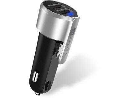Adaptér do auta Connect IT Emergency Car Charger, 2x USB - černý/stříbrný