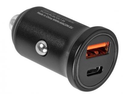 Adaptér do auta Avacom CarPRO 2, 1x USB, 1x USB-C PD - černý