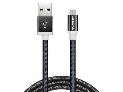 Kabel ADATA USB/micro USB, 1m, pletený - černý