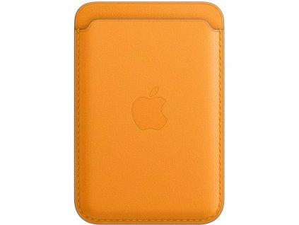 Apple kožená peněženka s MagSafe k iPhonu - měsíčkově oranžová
