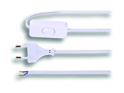 Kabel Solight Flexo šňůra, 3m, 2 x 0,75mm2, bílá, plochá, vypínač