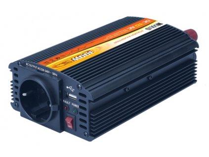 Měnič napětí Solight 12V, 300W, kovový, černý, 12V + USB 500mA