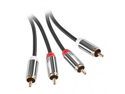 Kabel GoGEN 2x Cinch / 2x Cinch, 2m, pozlacené konektory - černý