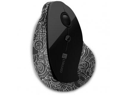 Myš Connect IT Doodle, vertikální, ergonomická / optická / 6 tlačítek / 1600dpi - černá