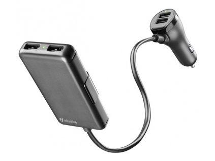 Adaptér do auta CellularLine 4 x USB, 7.2 A - černý