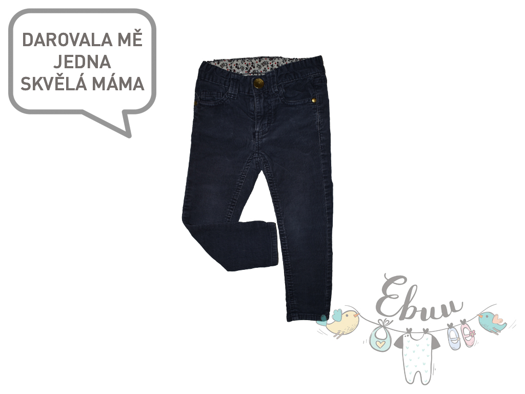 šedomodré manšestrové kalhoty