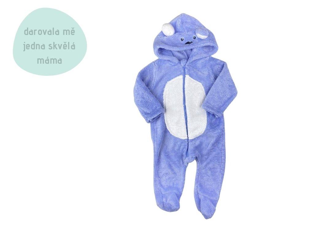 modré chlupaté pyžamko