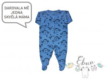 modré pyžamko s opičkami