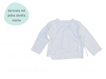 bílé zavinovací tričko s dlouhým rukávem