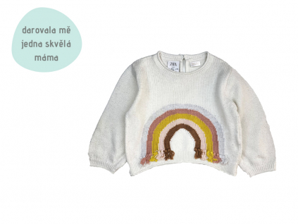 bílý svetřík s duhou Zara