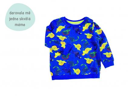 modrá mikina s dinosaury